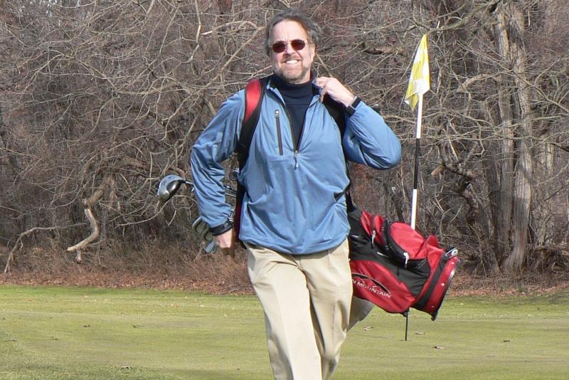 Jim in December, 2007, fifteen years after the rounds described below. Split Rock Golf Course, Pelham Bay Park, Bronx, New York.