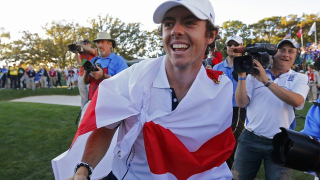 Rory McIlroy at the 2012 Ryder Cup, after not going to the driving range  before teeing off.