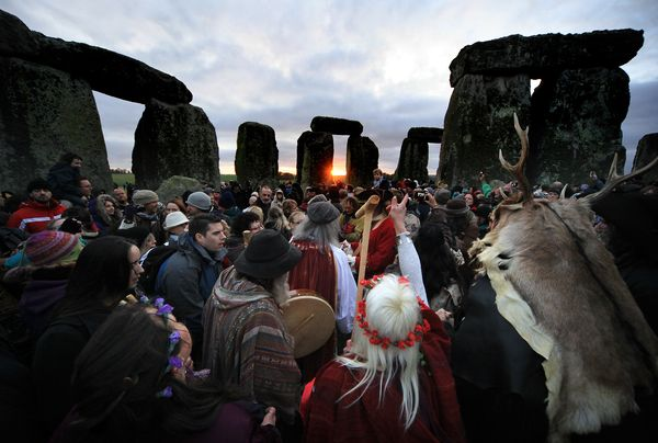 This isn't the Sunday Morning Group, but it's close. It's a bunch of self-styled Druids celebrating the 2012 Winter Solstice at Stonehenge, an archaeological site not far from the Salisbury & South Wilts Golf Club, which was founded in 1888, a year before my club at home. This photo is from the National Geographic website.
