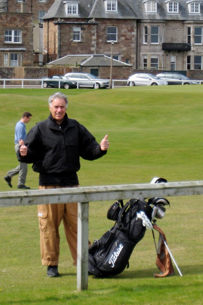 Tony in chef pants, North Berwick, Scotland, May, 2008.