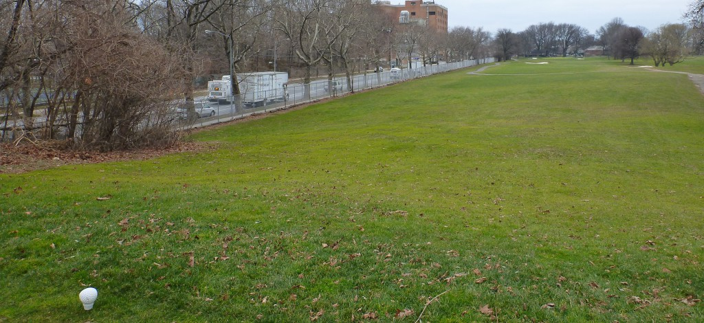 Dyker's ninth fairway rounds quite close  to Seventh Avenue in Bay Ridge--a good reason not to park on that block.