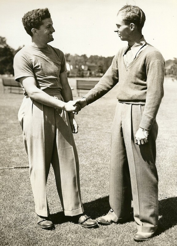 Frank Strafaci and Bobby Dunkleberger, following the former's defeat of the latter on the thirty-sixth hole of the 1939 North and South, Pinehurst, North Carolina.