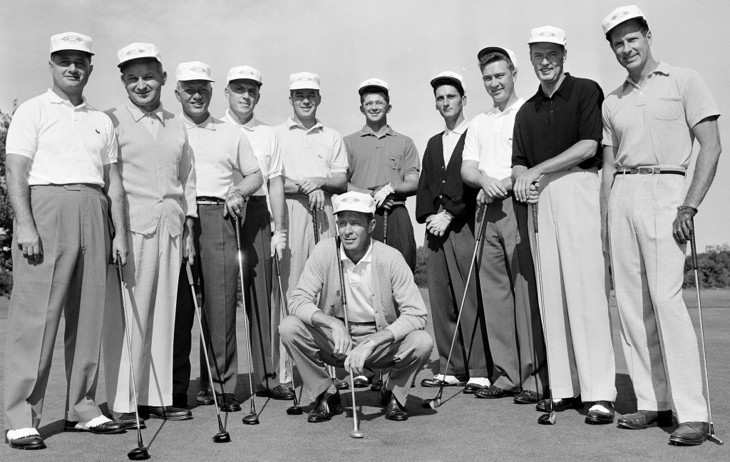 U.S. Walker Cup team, 1957. Charles Coe, the captain, is squatting in the center. Billy Joe Patton, in glasses, is standing behind him.