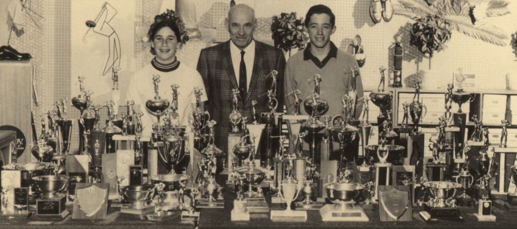 Amy Alcott, Walter Keller, and Tony Sills (who was also a student of Keller's) and a significant collection of junior-golf trophies.