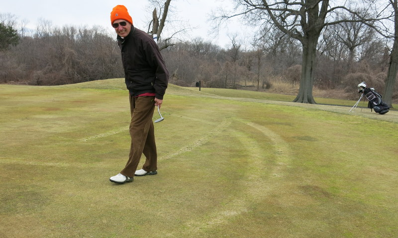 Some moron re-contoured several greens at Pelham by driving an R.V. over them.  This one didn't  look too bad.