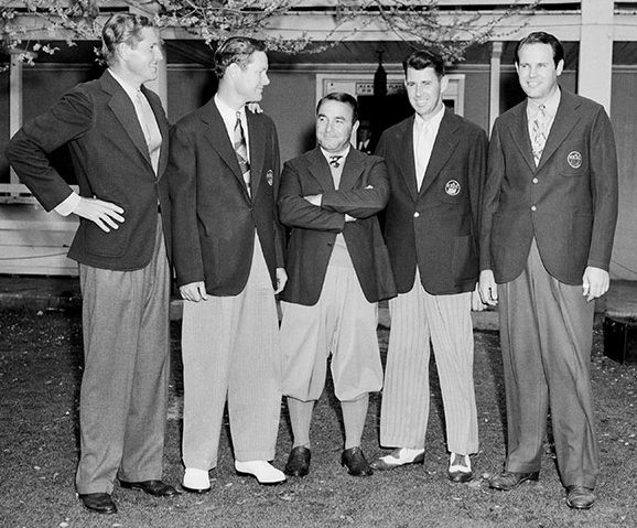 Horton Smith, Byron Nelson, Gene Sarazen, Henry Picard, and Ralph Guldahl, 1939. You can order a nice print of this swell photo from the Masters website.